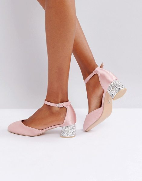 Lost Ink Blush Satin Embellished Mid Heeled Shoes in pink