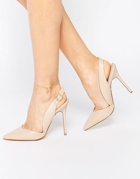 Lost Ink Capri sling back nude pumps in nude - Heels by Lost Ink. Leather-look upper Pin buckle...