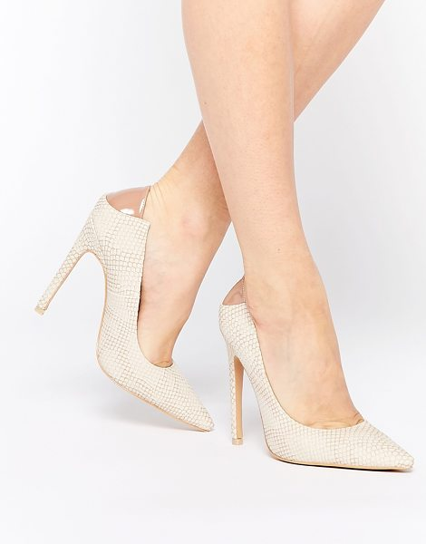 Lost Ink Christen natural snake effect pointed pumps in beige - Shoes by Lost Ink. Textured snake effect Point toe...