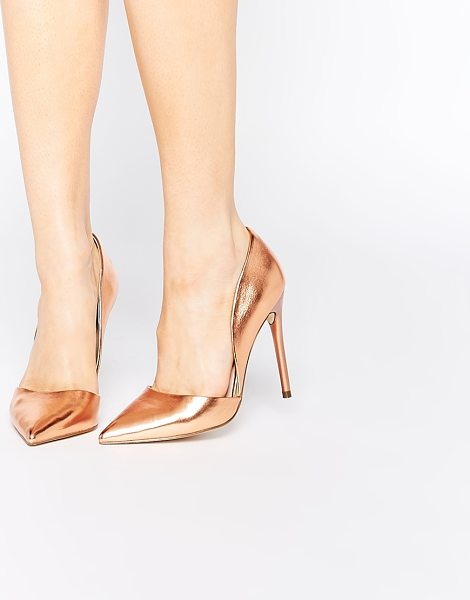 Lost Ink Cleo rose gold high heeled pumps in rose gold - Shoes by Lost Ink. Metallic rose-gold finish Sharp point...