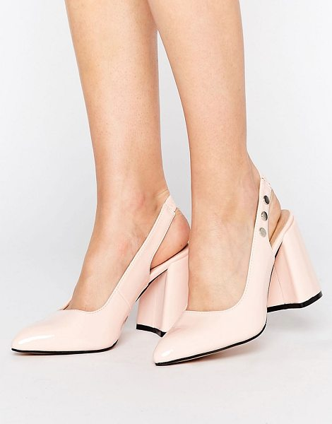 """LOST INK Fatima Pink Slingback Block Heeled Shoes in pink - """"""""Heels by Lost Ink, Faux-leather upper, Elasticated..."""
