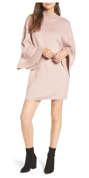 Lost Ink flare sleeve sweater dress in blush - The simple style of this cozy, soft sweater-dress lets...