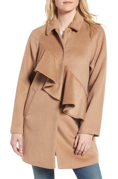 Lost Ink frill front coat in tan - A soft ruffle angles across a cozy club-collar coat...
