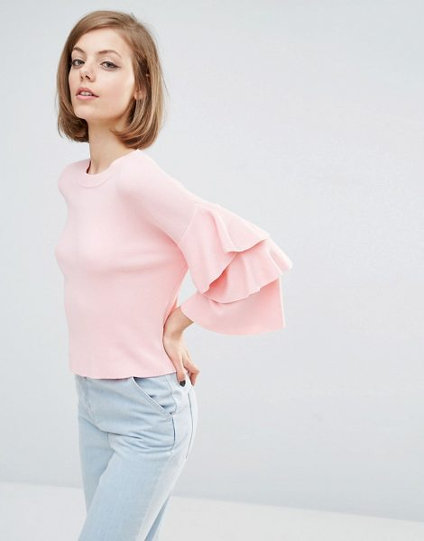 Lost Ink Frill Sleeve Sweater in pink - Sweater by Lost Ink, Fine knit, Crew neckline, Flared...