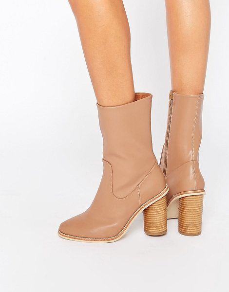 Lost Ink Gorzo Calf Round Heeled Ankle Boots in tan - Boots by Lost Ink, Faux leather upper, Panelled design,...