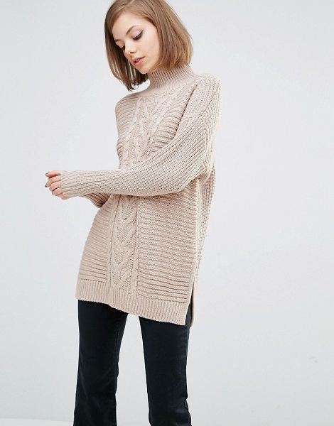 "Lost Ink High Neck Boyfriend Sweater in beige - """"Sweater by Lost Ink, Chunky knit, High neckline,..."