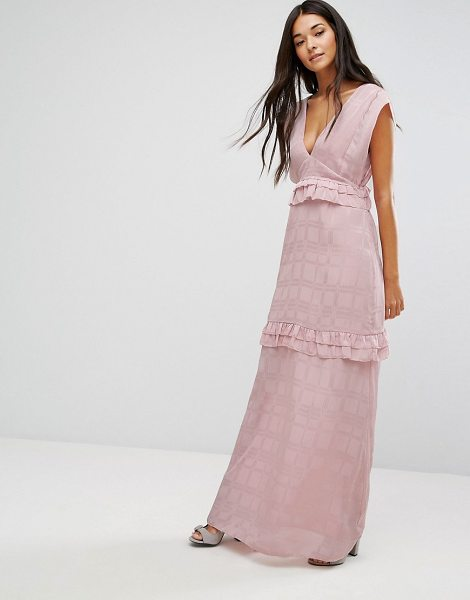 "Lost Ink maxi dress with frills in pink - """"Maxi dress by Lost Ink, Textured woven fabric,..."