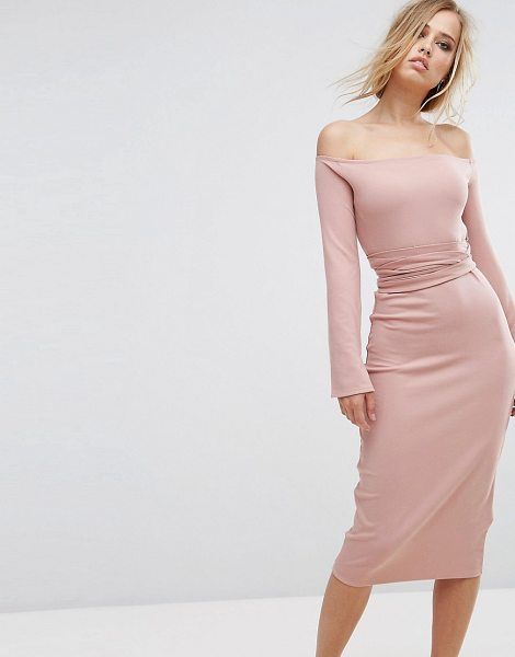 Lost Ink Midi Dress With Split Sleeves in pink