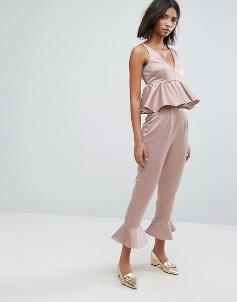"Lost Ink pants with peplum hem co-ord in blush - """"Pants by Lost Ink, Smooth satin-style fabric,..."