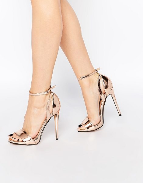 Lost Ink Raula Rose Gold Two Part Heeled Sandals in copper