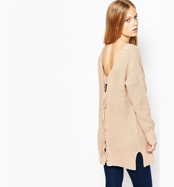 Lost Ink Rib sweater with lace up back in tan - Sweater by Lost Ink. Chunky ribbed knit Round neckline...