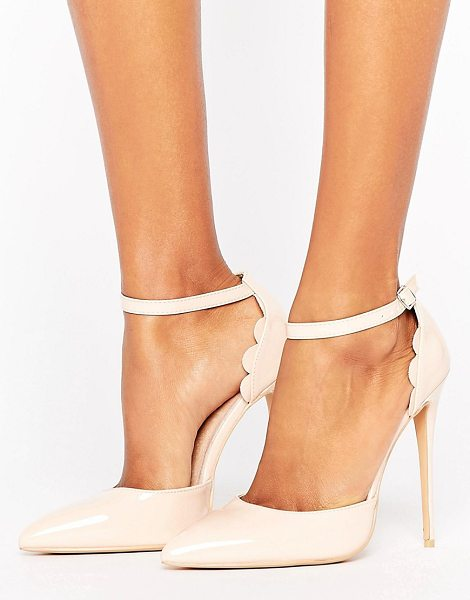 "Lost Ink scalloped nude patent heeled shoes in nude - """"Heels by Lost Ink, Smooth faux-leather upper,..."