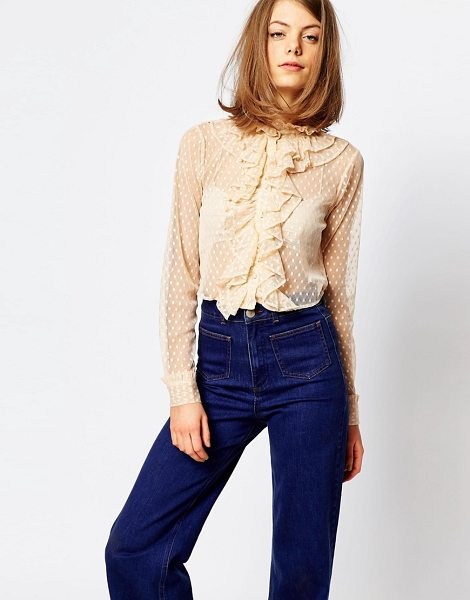 Lost Ink Sheer Ruffle Front Cropped Shirt in cream - Shirt by Lost Ink, Sheer woven fabric, High neckline,...