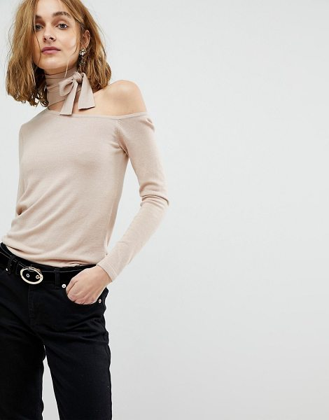 Lost Ink slim sweater with cut out collar and tie neck in beige - Sweater by Lost Ink, Some serious daytime inspiration...