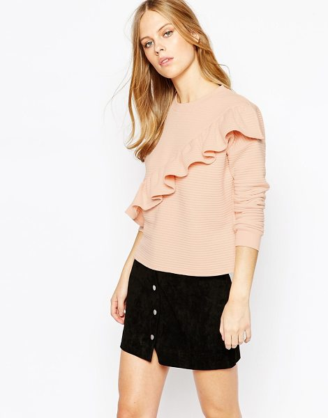 LOST INK Textured Sweat with Frill in pink - Sweatshirt by Lost Ink, Soft-touch, ribbed knit,...