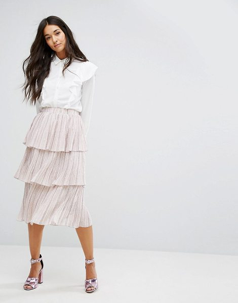 "Lost Ink Tiered Pleated Skirt in pink - """"Skirt by Lost Ink, Pleated woven fabric, Subtle spot..."