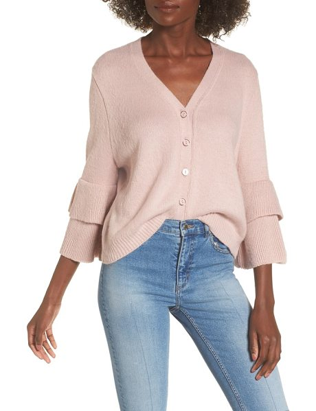 Lost Ink tiered sleeve cardigan in pink - The simple style of this cozy cardigan sweater lets the...