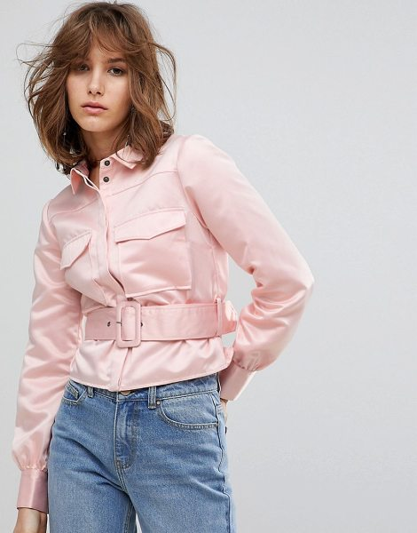 Lost Ink Western Shirt With Belt Detail In Satin in peach - Shirt by Lost Ink, Point collar, Concealed placket,...