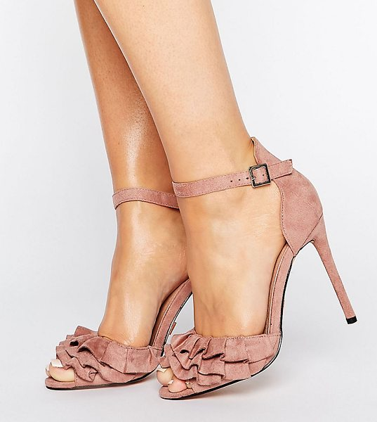 "Lost Ink Wide Fit Blush Ruffle Heeled Sandals in pink - """"Heels by Lost Ink. Wide Fit, Faux-suede upper,..."