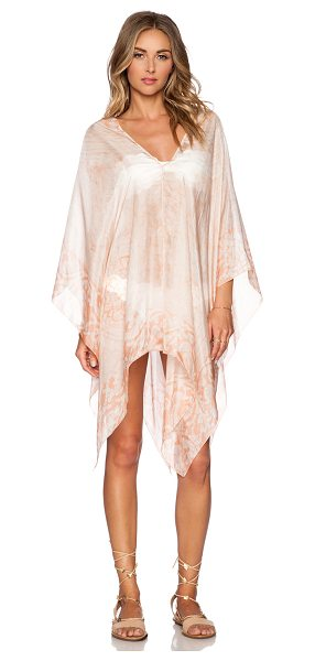 Lotta Stensson Batik Petite Poncho in peach - 100% silk. Dry clean only. Unlined. Sheer fabric....