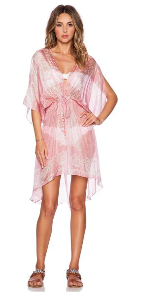 Lotta Stensson Peacock batik mini robe in pink - 100% silk. Dry clean only. Drawstring waist. LOTT-WX11....