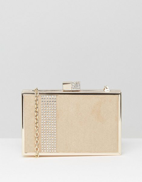 Lotus Box clutch bag in beige microfibre - Clutch bag by Lotus Textile outer Smooth lining Metal...