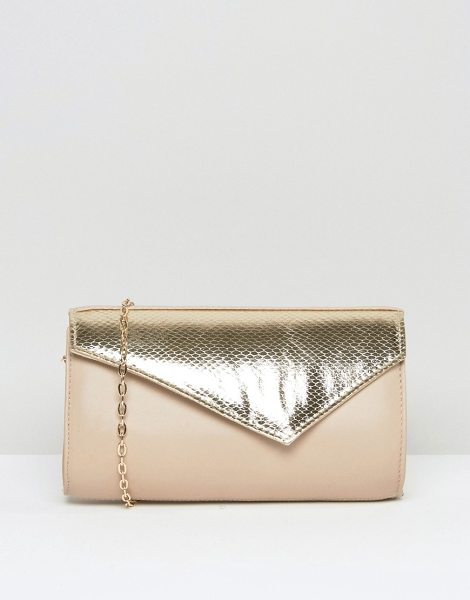 LOTUS Kinga Contrast Envelope Clutch Bag - Cart by Lotus, Leather outer, Metallic panel in croc...