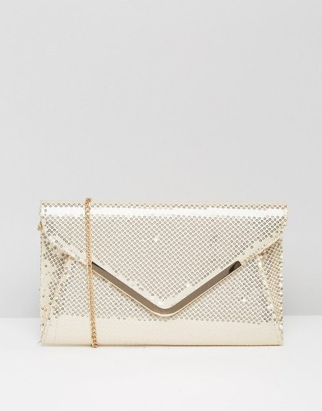 Lotus Sequin envelope clutch bag in beige - Cart by Lotus, Gold-tone sequinned fabric, Shoulder...