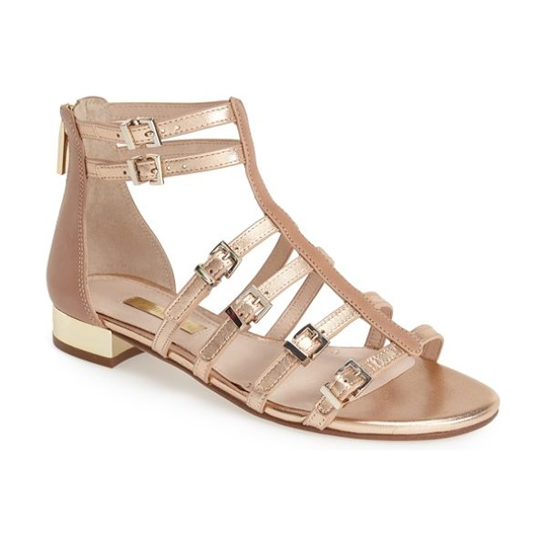 Louise et Cie anja sandal in copper - A gilt heel adds a flash of glamour to a strappy...