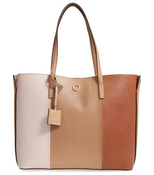 Louise et Cie elay leather shoulder tote in biscotti stripe - Slim over-the-shoulder handles top a roomy, lightly...
