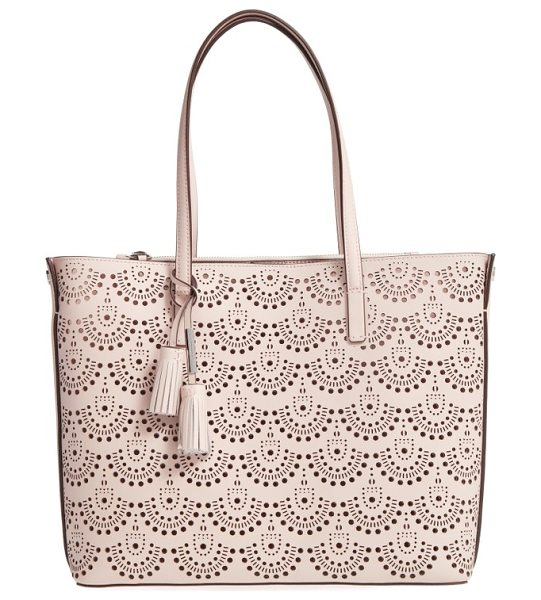 Louise et Cie elay perforated leather tote in rose blush - Slim over-the-shoulder handles top a roomy, lightly...