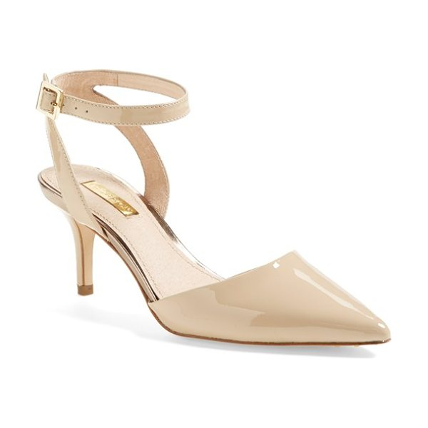 Louise et Cie 'esperance' pump in beige - A skinny ankle strap tops a lofty pump crafted with a...
