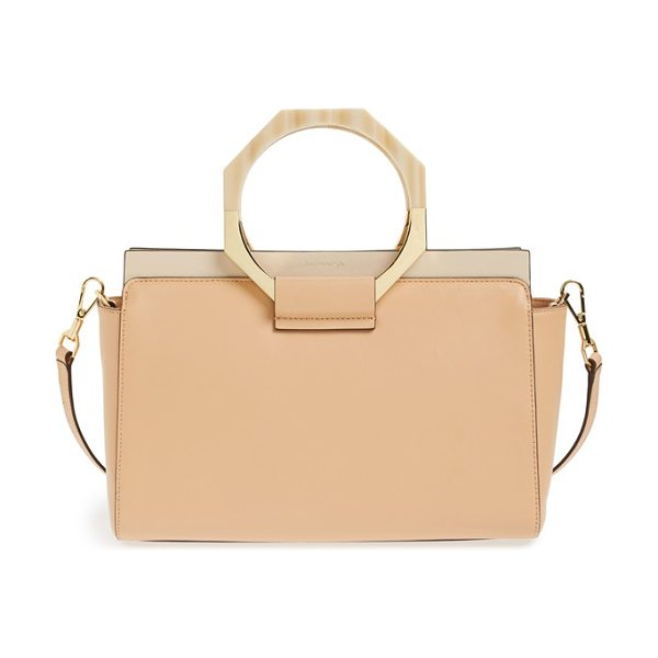 Louise et Cie Fae leather satchel in matte peach/ french pink - Distinctive octagonal handles provide standout finesse...