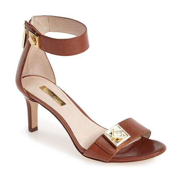 Louise et Cie gwendolyn ankle strap sandal in brandy - Gleaming, geometric logo hardware adds interest to a...