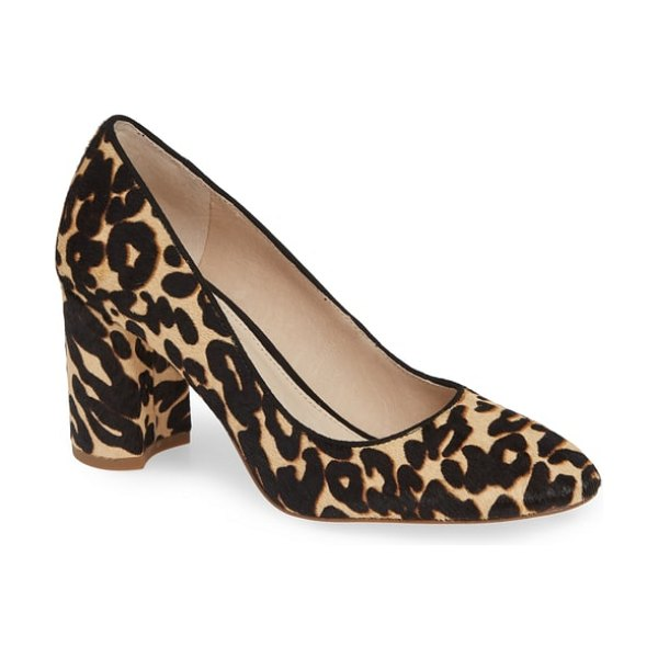 Louise et Cie jalzy genuine calf hair pump in leopard - A classic round-toe pump is elevated by a chunky,...