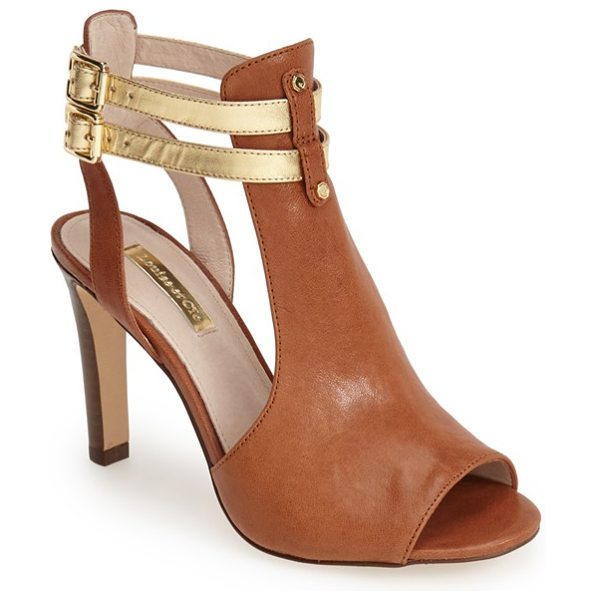 Louise et Cie sebastian cutout leather sandal in brandy - Twinned contrast ankle straps secure a supple leather...