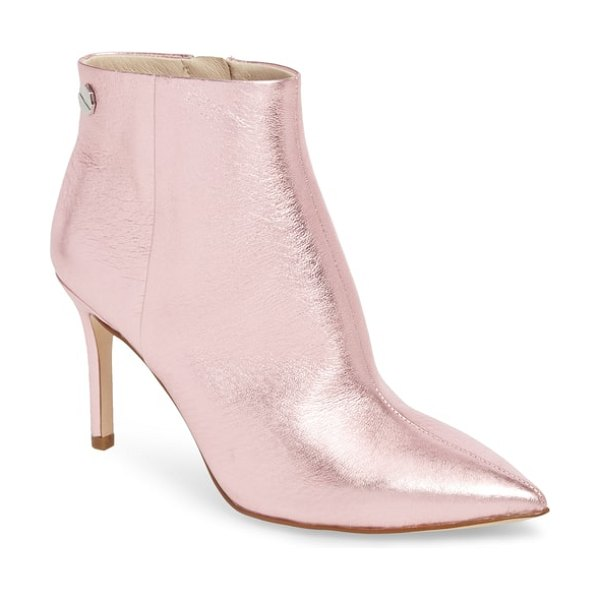 Louise et Cie sonya pointy toe bootie in rose quartz leather - Step out with suave, confident style in a pointy-toe...