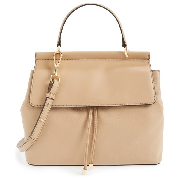 Louise et Cie Towa leather satchel in tan - A smooth leather flap contrasts with the pebbled texture...