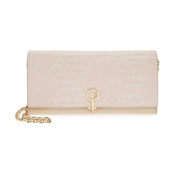 Louise et Cie Yvet leather flap clutch in blush baby lizard - Distinctive octagonal hardware secures the lightly...