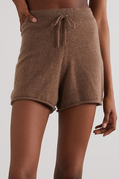 LOULOU STUDIO robben mélange cashmere shorts in brown