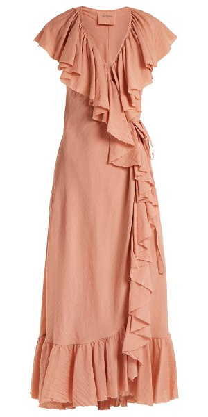 Loup Charmant callela ruffled cotton wrap dress in pink