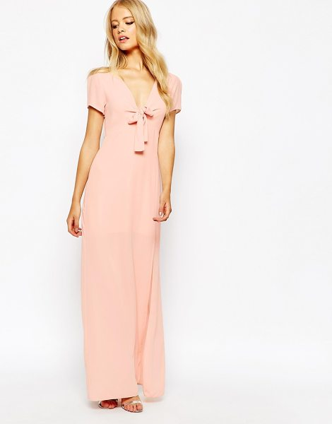 Love Bow front maxi dress in blush - Maxi dress by Love Woven fabric V-neckline Bow trim...