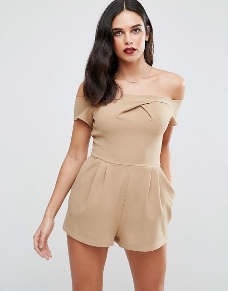 Love Cold Shoulder Romper in beige - Play suit by Love, Woven fabric, Off-shoulder design,...