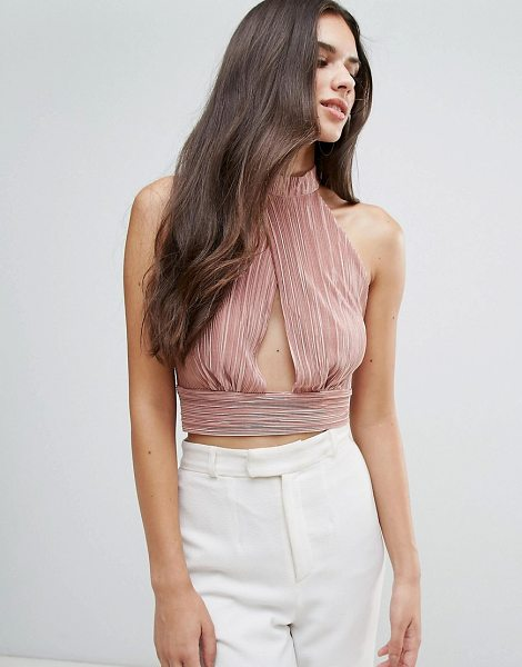 "Love Cross Over Cropped Top in pink - """"Top by Love, Textured fabric, High neck, Cut-out..."