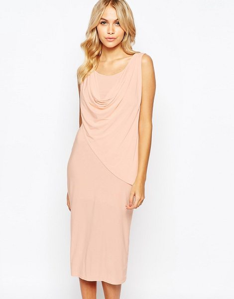 LOVE Drape Front Knee Length Midi Dress in pink - Evening dress by Love, Stretch-silky fabric, Scoop...
