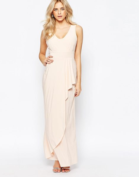 Love Drape Front Maxi Dress in pink - Maxi dress by Love, Smooth stretch jersey, V-neckline,...