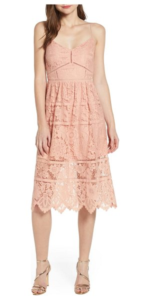 Love, Fire cotton blend lace midi dress in pink