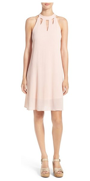 Love, Fire high neck shift dress in dusty pink - Fun cutout details at the high neckline doll up a sweet...