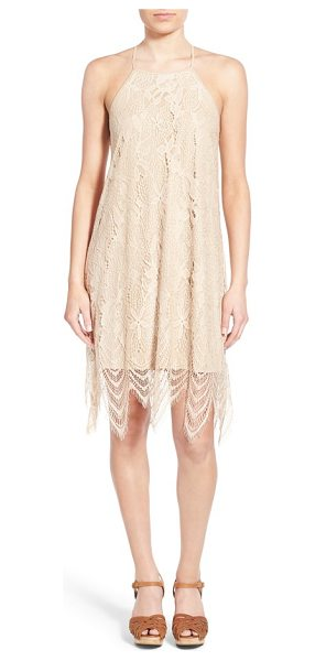 Love, Fire lace shift dress in beige - A delicate lace overlay enhances the whimsical essence...