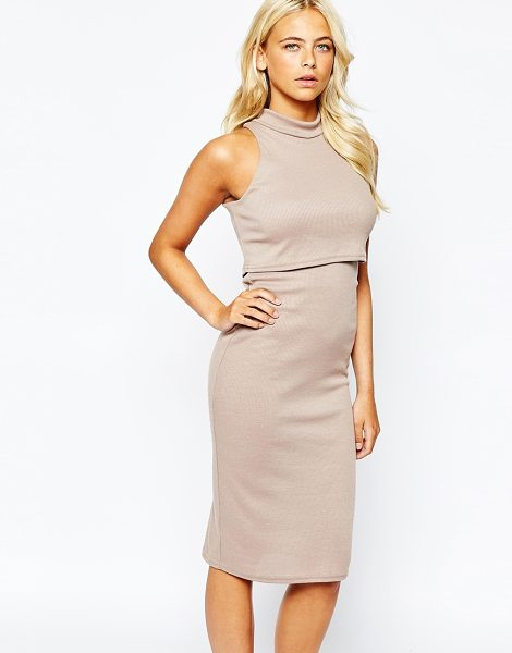 Love High neck dress in rib jersey in taupe - Midi dress by Love Ribbed knit jersey High, roll...